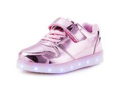 AFFINEST Led Con Luci Sneakers Bright Light USB 7 Colori Bambino Scarpe Lampeggiante bambini ragazzi ragazze regalo Natale Capodanno(rosa,34)