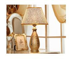 TMY LED Lampada da Tavolo in Ceramica Lampada da Comodino Camera da Letto Soggiorno Lampada da Tavolo Regolabile con Paralume in Oro E27 Luce Notturna (Dimensioni: B-Dimmer Interruttore -28 * 46 CM)
