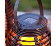 Lanterna rotonda LED da esterno effetto rattan ad energia solare 15cm di Lights4fun