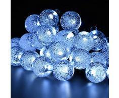 MagicLux Tech - Catena luminosa a 30 LED a energia solare, per giardino, recinzione, Natale, vacanze, casa, matrimonio, decorazione per feste, 21FT, 8 in 1, plastica, 0,2 W, bianco