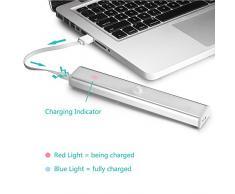 JESWELL Led del Sensore di Movimento Wireless Ricaricabile Luce con Interruttore, USB Luce Notturna Lampada da Armadio Scale Corridoio Guardaroba Cucina, Attaccare Ovunque con Striscia Magnetica, 10 Luminosa LED (Aggiornata Confezione da 2)