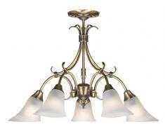 Lampadario da soffitto Endon 144-5AN. Montatura in ottone antico con 5 porta luci in vetro opalino color alabastro . H 410-730 mm , D 590 mm . 5 luci da 40 W . Attacco SES incluso. Può essere convertito il montaggio