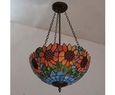Lusso girasole Tiffany ristorante soffitto pendente luci continentale classico in vetro colorato paralume bancone bar, lampadario sala da pranzo lampade