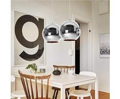 Lampada a sospensione Luce sospesa Rotondo Moderno Design Ferro Paralume per Camera da letto capezzale Bar cucina Isola Tavolo della sala da pranzo Scala Loft Lampadario da soffitto (Cromo, φ30CM)