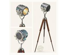 Thor Instruments.Co Thor Vintage ricerca faretti Spot Lampada con treppiede in classico Home assorbe© COR, colore: marrone