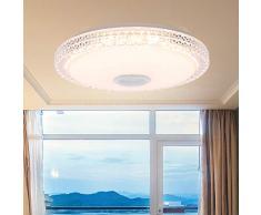 HaavPoois Plafoniera musicale a LED, imitazione del bordo in cristallo con altoparlante Bluetooth Lampada da soffitto in cristallo per soggiorno, luce bianca calda dimmerabile RGB che cambia colore