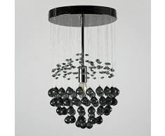 MiniSun – Bellissima plafoniera moderna, elegante e cromata nera con goccioline nera di acrilico ed a sospensione – lampada da soffitto
