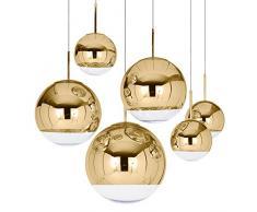 lampade a sospensione,Nordic moderna caffetteria Testa singola sfera dello specchio spazio sfera di elettroplaccatura lampadario in vetro decorazione,Golden 20cm