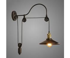 NIUYAO Lampada da Parete Industriale Stile Gooseneck Regolabile Vintage Metal Wall Light con 1 luce-Nero