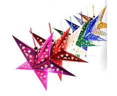 BESTOYARD 5pcs Natale Lanterne di Carta a Forma di Diamante Decorazioni Natalizie Lampada a soffitto Ombra 30cm (Oro, Blu, Verde, Rosa Rossa, Argento)
