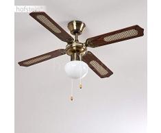 Ventilatore a soffitto Morea, in metallo/legno/vetro,ottone/marrone, lampada a soffitto con ventilatore con 2 tiranti, regolabile in 3 stadi, pale reversibili, adatto per estate e inverno
