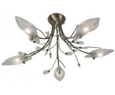 5-bruciatore plafoniera Cipro con ottone anticato, per soffitti bassi, con paralumi in fogli di forma di vetro trasparente e goccia ornamento di cristallo