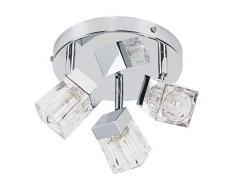 Plafoniera IP44 moderna, bella e cromata con 3 luci spot nella forma di cubetti di ghiaccio - G9