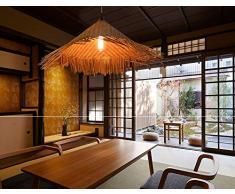 Lampadario di bambù Retro Light Fixtures Lampadari di vimini Lampadario Dinging Room Lampada a soffitto Lampada a sospensione Agriturismo, vimini di rattan Shades Weave Lamp TZZ