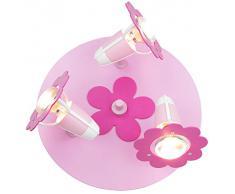 Elobra, Lampada da soffitto per bambini, con 3 faretti a forma di fiorellino, attacco E14