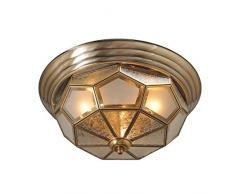 Lampada da soffitto lampadario candeliere in ottone opaco vetro Tiffany rustico ø46cm 6-luci EXL. E14 6 x 40 W 230 V