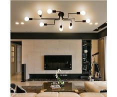 Baycheer portalampada lampada industriale da tavolo lampada da soffitto plafoniera in ferro battuto 8 bracci lampadari, lampada a sospensione., 8 lampen, E27 40.00 wattsW 110.00 voltsV
