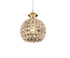 Pendente di Cristallo LED Lampadario - Luce Circolare Forma Sospensione Lampada da Soffitto Moderna(Oro)