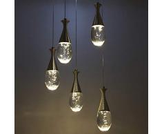 Phil lamps Lampadario Creativo Lampadario A Goccia in Acrilico Trasparente A LED 34w personalità Romantica 5 Lampade Decorazione Camera da Letto Ristorante