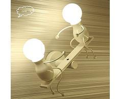 FSTH Creativo Lampade da Parete Applique da Parete Moderna Decor Metal Lampada da Parete Altalena Lampade da Parete per Bar, Camera da Letto, Ristorante, Nero E27 (Bianco)