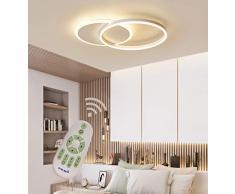 LED Plafoniera Soggiorno Dimmerabile Soffitto Lamp Moderno Tondo Annulus Designer Lampada a Sospensione con telecomando Cucina Métal acrilica Sala da pranzo Ufficio Deco Lampadari L55*W40cm