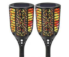 Reawow - Lampada solare per esterni con luce tremolante, luce solare da giardino, fiaccola, 96 LED, lanterna da strada, prato, da giardino
