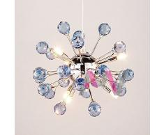 Moderno, con cristalli blu, con motivo dente di leone da corridoio soffitto corridoio Portico-Lampada a sospensione, modello di illuminazione camera da incasso