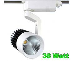 Faro Faretto da Binario orientabile 36 watt COB LED casa ristorante pub LED (Bianco freddo 6400)