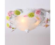 Bucolico in vetro-Lampadario floreale con farfalle e luci da soffitto, cameretta-Lampada da soffitto