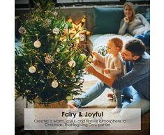 Luci a catena 500 LEDs 50 metri, Luci di Natale Filo di rame All'aperto, Luci Di Stringa Decorazioni per alberi di Natale, Giardino, Interno, festa, Matrimoni (Bianco caldo)