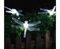 20 LED Dragonfly Impermeabile Esterna Solare String Luci, KEEDA 16ft Luci Dell'albero di Natale, di Energia Solare di Illuminazione a LED, Luci solari per Outdoor Garden Party di Natale Decorazioni Luci (Bianca)