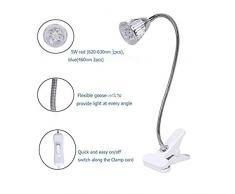 Glighone 5W Lampada LED per Piante Luce Lampada Faretto LED per Coltivazione Luce Piante Crescenti con Molletta