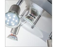 Plafoniera LED da soffitto, include 4 lampadine GU10 3W luce calda, Ø25cm, 1 faretto fisso 3 inclinabili, lampada moderna per l'illuminazione da interno, metallo e vetro, color nickel opaco 230V IP20