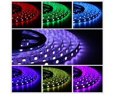 Salcar Striscia di luce di natale SALCAR 2x5m RGB con 600 LED (SMD 5050), 16 colori selezionabili, incl. 24 tasto del telecomando IR / e 12V 120W alimentazione