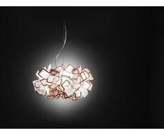 Slamp Lampada A Sospensione Clizia Bianco/Arancione realizzato a mano, Made in Italy