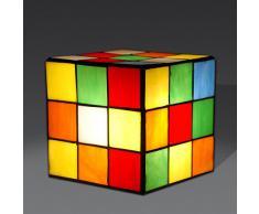 Arte dal Mondo Tiffany Lampada da Comodino Cubo Rubik, Vetro, Multicolore, 15 x 15 x 15 cm