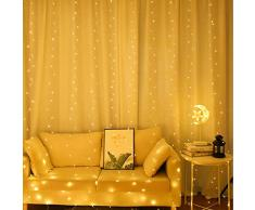 Catena Luminosa,Stringa Luci Led, Luci da Esterno,LED Luci Stringa Decorative 50m 400 LED Bianco Caldo Luci Natalizie da Esterno e Interno per Festa,Matrimonio,Giardino,Natale
