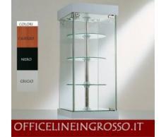VETRINA DA BANCO 31x31x74 cm CRISTALLI TEMPERATI CON RIPIANI GIREVOLI - FARETTI ALOGENI E BASE A SPECCHIO made in Italy
