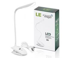 LE Lampada LED con Pinza, Ricaricabile Regolabile al tocco 3 Livelli di Luminosità Portatile Per studio scrivania tavolo lettura