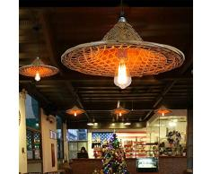 TZZ Lampadario di bambù Retro Light Fixtures Vimini Lampadari Lampadario Dinging Room Lampada a soffitto Lampada a Sospensione Agriturismo, Vimini Rattan Shades Weave Lamp (caffè)