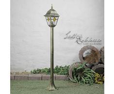 Percorso rustico luce giardino elemento in vetro colorato H:1,03m E27 lampada standard per esterni in oro antico cortile terrazza cortile