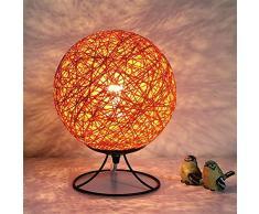 HLHHL-Lamp Lampada da Tavolo Arte Creativa in Ferro Lampade da Comodino Arancione Sepak Takraw Forma Luci Notturne Camera da Letto Salotto Tavolino Decorazione Pulsante Interruttore