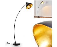 Lampada da terra Parola in metallo di colore nero/oro - Piantana vintage - Luce a stelo stile retro con interruttore di piede sul cavo - Attacco 1 x E27