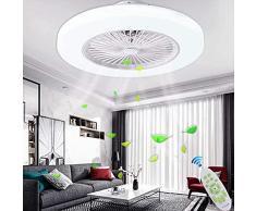 XINS Ventilatori da Soffitto con Lampada LED Fan Plafoniera 72W Ventilatore Invisibile Creativo 3 velocità con Telecomando Dimmerabile Decorazione Dinterni Illuminazione,Bianca