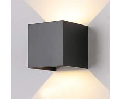 7W Moderno Lampade da Parete per Interni / Esterno Led Nero, Applique da Parete Impermeabile IP65 Lampada Muro in Alluminio Angolo Su e Giù Regolabile design 3000K Bianco Caldo