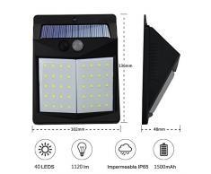 Luce Solare da Parete,KOREY [2-Pezzi] 40 LED Lampada Solare con Sensore di Movimento Wireless Luce Energia Solare da Esterno Impermeabile 1500mAh Luci Solari da Esterni per Parete, Patio, Giardino