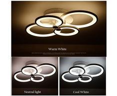ONLT Plafoniera LED da soffitto,Super-sottile cerchio Soffitto moderni lampadari di luce Luce per soggiorno,sala da pranzo (Dimmerabile, 4 Teste)