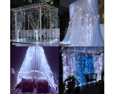 WolfWise Tenda Catena Luci Natalizie 300 LED (3m x 3m) 8 Modalità Con Controllo Funzione di Memoria Ideale per Decorazione Natale/Matrimoni/Feste per Uso Esterno e Interno (Bianco)
