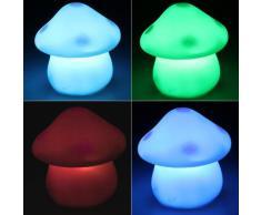 SODIAL(R) Luce Lampada Notturna Notte Fungo LED Multicolori + Batterie
