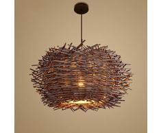 LIGHTXYX Lampada a Sospensione Intrecciata a Mano da bambù Design Creativo Personalizzato Paralume Lampadario in Rattan Lampada a Sospensione Lampada da Pranzo a Forma di Lanterna con luci Rotonde